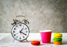 Alarm clock time to drink coffe Royalty Free Stock Photos