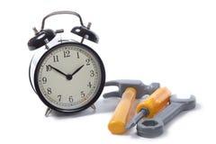 Alarm clock with tools stock photos