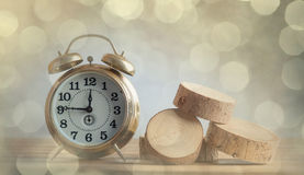 Alarm clock and tree cutted trunk Stock Photo