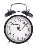 Alarm clock with twisted arrows Royalty Free Stock Images