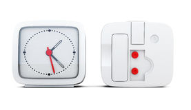 Alarm clock with the two sides isolated on white background. 3d Royalty Free Stock Photography