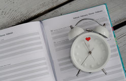 Alarm Clock Valentine's Day Calendar Love Concept Royalty Free Stock Photos