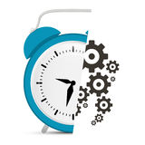 Alarm Clock Vector with Cogs - Gears Illustration Royalty Free Stock Images