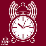 Alarm clock vector 3d illustration with podcast sign Royalty Free Stock Photo