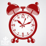 Alarm clock vector 3d illustration, wake up conceptual icon. Royalty Free Stock Image