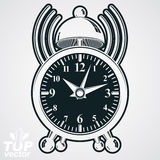 Alarm clock vector 3d monochrome illustration with podcast sign,. Wake up conceptual icon. Graphic retro dimensional clock with clang bell isolated on white vector illustration