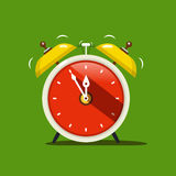 Alarm Clock. Vector Flat Design Icon. On Green Background Stock Photos