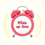 Alarm clock vector wake up time. Stock Image