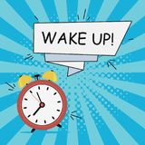 Alarm clock - Wake-Up. Comics illustration in pop art style at sunburst background with dot halftone effect and speech banner. royalty free illustration