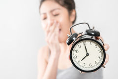 The alarm clock waking up in the morning from a call Stock Photo