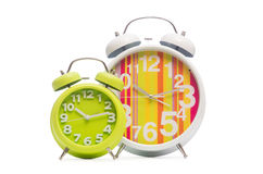 Alarm clock  on the white background Stock Photos