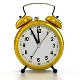 Alarm clock on white background. 3D stock illustration