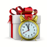 Alarm clock and white gift box. 3D image Stock Photography