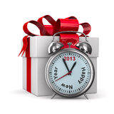 Alarm clock and white gift box. 3D image Stock Image