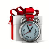 Alarm clock and white gift box. Isolated 3D image Stock Images