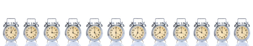 Alarm Clock With Times 12 Clock Stock Photography