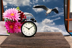 Alarm clock on wood with blue sky picture in background. Seagull Royalty Free Stock Photography