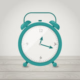 Alarm clock on the wood board. Vector flat illustration. Alarm clock on the wood board Stock Photos