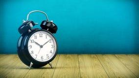 Alarm clock on wooden table stock illustration