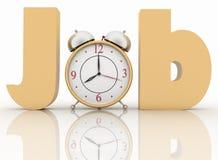 Alarm clock in the word job Stock Photo