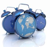Alarm clock of world map and alarm clocks Royalty Free Stock Photo