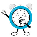 Alarm Clock Yawning. Cartoon alarm clock yawning with stretched out arm Vector Illustration