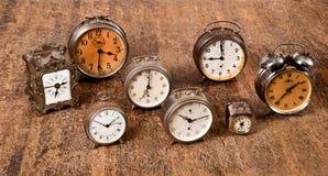 Alarm clocks. Group of old alarm clocks stock images