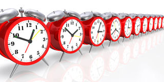 Alarm Clocks. 3d image of red alarm clocks Royalty Free Stock Images