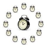 Alarm clocks. Arranged in a clock pattern royalty free stock photos