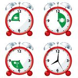 Alarm Clocks with eating times Stock Images