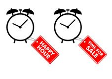 Alarm clocks with labels stock images
