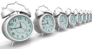 Alarm clocks in a row Royalty Free Stock Image