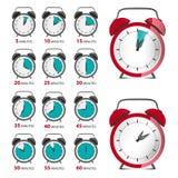 Alarm Clocks Set with Time Symbol. Vector Analog Counter. Alarm Clocks Set with Time Symbol. Vector Analog Counter Illustration stock illustration