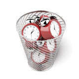 Alarm clocks in the trash Stock Photo