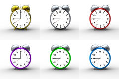 Alarm clocks on white background Stock Images