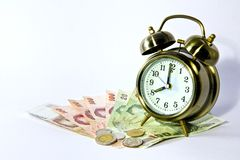 Alarm color gold clock , Royalty Free Stock Photos