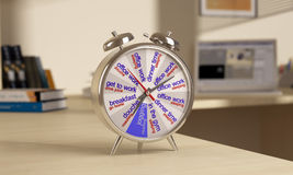 Alarm with dial daily routine. Chrome alarm clock is on the table, on tsiferbleate schedule Stock Illustration