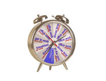 Alarm with dial daily routine. Chrome alarm clock on a white background, on tsiferbleate schedule Vector Illustration