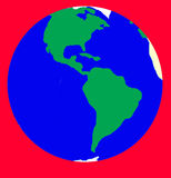 Alarm of Earth planet. Isolated on red. Earth planet symbol is on the red background as abstract, symbol of alarm, dangerous, hot news or critical situations Stock Photos