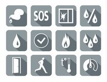 Alarm, fire detectors, humidity, motion, temperature, glass break, icons, gray. Royalty Free Stock Images