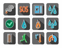 Alarm, fire detectors, humidity, motion, temperature, icons, colored, contour, gray. Stock Photography