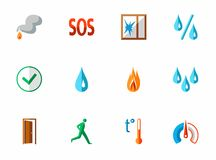 Alarm, fire detectors, humidity, motion, temperature, icons, colored, flat. Royalty Free Stock Photography