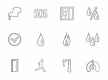 Alarm, fire detectors, humidity, motion, temperature, icons, gray, contour. Stock Photos