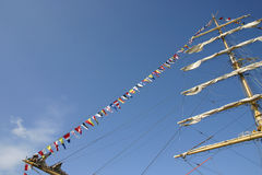Alarm flags of a sailing vessel Stock Images