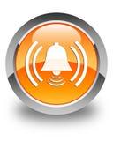 Alarm icon glossy orange round button Stock Images