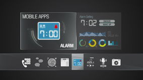 Alarm icon for mobile application contents.Various application function for smart device.Digital display application. Mobile application contents.Various stock video footage