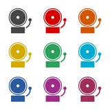 Alarm icon, Ringing bell icon, color icons set Stock Image