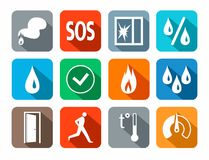 Alarm, icons, colored, fire detectors, humidity, motion, temperature, glass break. Vector white image on a colored background with a shadow. Pictures for the Stock Photo