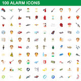 100 alarm icons set, cartoon style. 100 alarm icons set in cartoon style for any design vector illustration Stock Photography