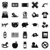 Alarm icons set, simple style. Alarm icons set. Simple set of 25 alarm icons for web isolated on white background Royalty Free Stock Photos